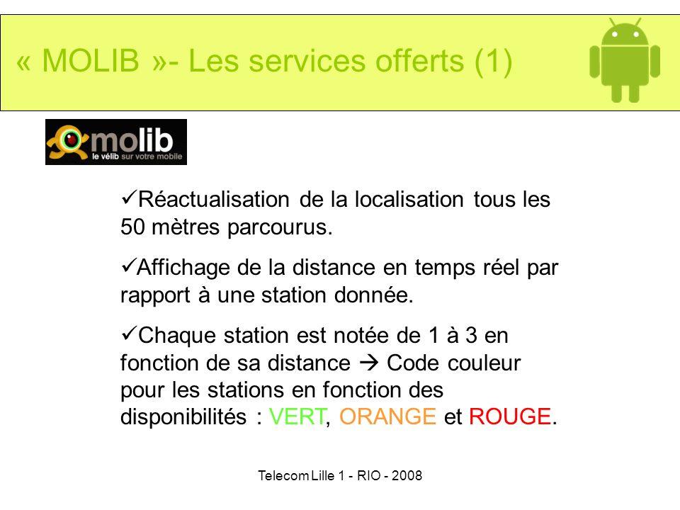 Telecom Lille 1 - RIO - 2008 Réactualisation de la localisation tous les 50 mètres parcourus. Affichage de la distance en temps réel par rapport à une