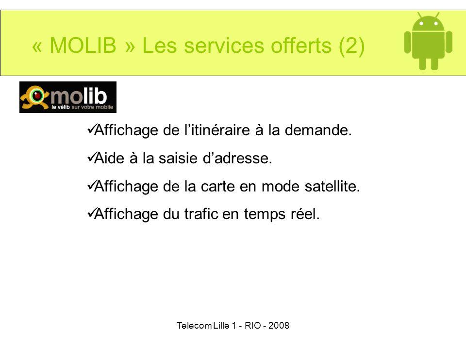 Telecom Lille 1 - RIO - 2008 « MOLIB » Les services offerts (2) Affichage de litinéraire à la demande. Aide à la saisie dadresse. Affichage de la cart