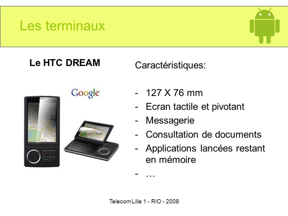 Telecom Lille 1 - RIO - 2008 Les terminaux Le HTC DREAM Caractéristiques: -127 X 76 mm -Ecran tactile et pivotant -Messagerie -Consultation de documen