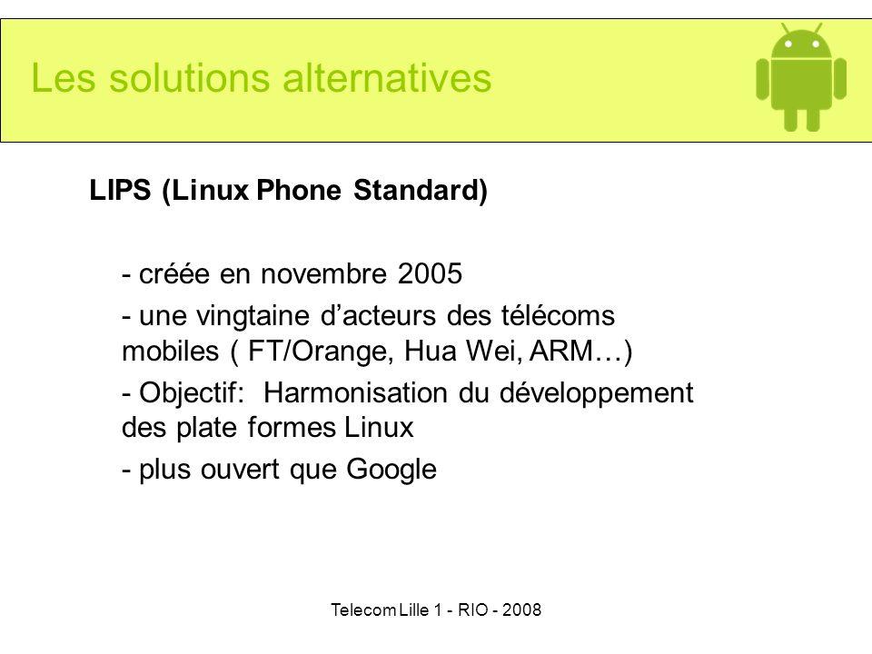 Telecom Lille 1 - RIO - 2008 Les solutions alternatives LIPS (Linux Phone Standard) - créée en novembre 2005 - une vingtaine dacteurs des télécoms mob