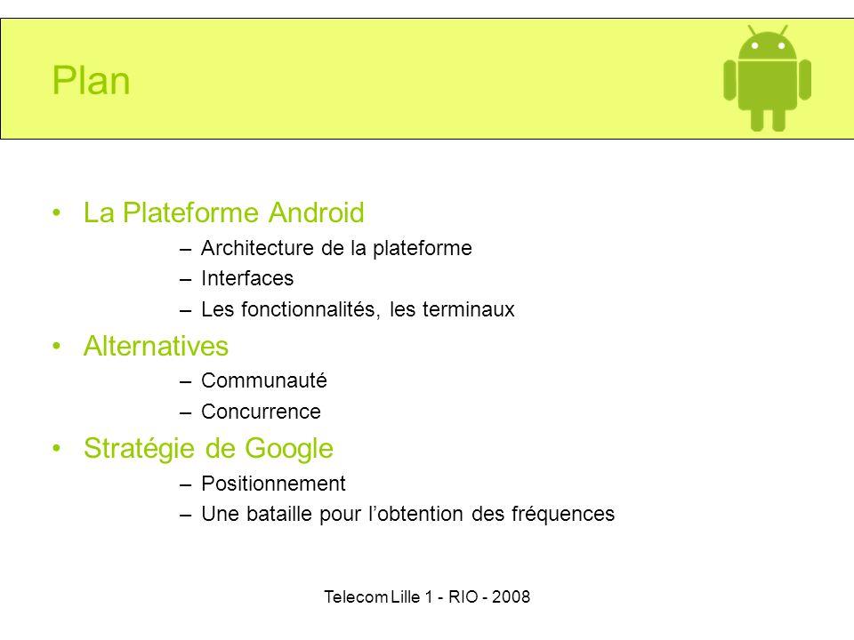 Telecom Lille 1 - RIO - 2008 Plan La Plateforme Android –Architecture de la plateforme –Interfaces –Les fonctionnalités, les terminaux Alternatives –C
