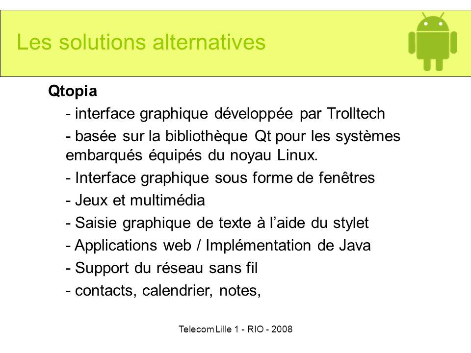 Telecom Lille 1 - RIO - 2008 Qtopia - interface graphique développée par Trolltech - basée sur la bibliothèque Qt pour les systèmes embarqués équipés