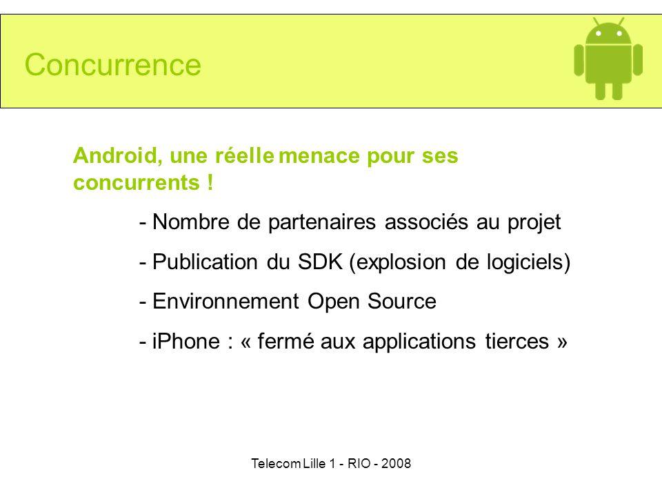 Telecom Lille 1 - RIO - 2008 Concurrence Android, une réelle menace pour ses concurrents ! - Nombre de partenaires associés au projet - Publication du