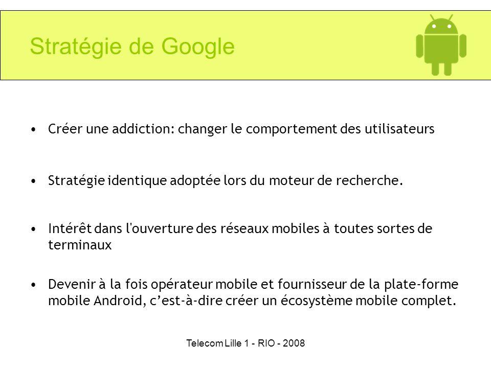 Telecom Lille 1 - RIO - 2008 Stratégie de Google Créer une addiction: changer le comportement des utilisateurs Stratégie identique adoptée lors du mot