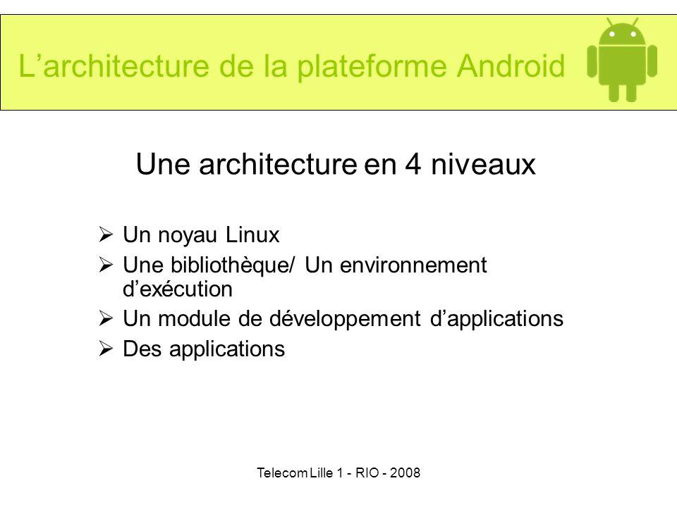Telecom Lille 1 - RIO - 2008 Une architecture en 4 niveaux Un noyau Linux Une bibliothèque/ Un environnement dexécution Un module de développement dap