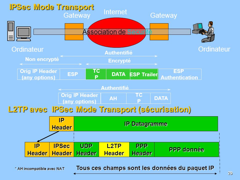 28 IPSec Mode Tunnel Association de Sécurité Internet Securité Gateway Ordinateur Non encrypté Encrypté ESP Authentication New IP Header (any options) TC P DATA ESP Trailer Authentifié Orig IP Header (any options) AH Orig IP Header (any options) TC P DATA Authentifié New IP Header (any options) * AH incompatible avec NAT L2TP avec IPSec Mode Tunnel (sécurisation) IPHeaderUDPHeader PPP donnée L2TPHeaderPPPHeader Tous ces champs sont les données du paquet IP IPHeader IP Datagramme IPSecHeaderIPHeader
