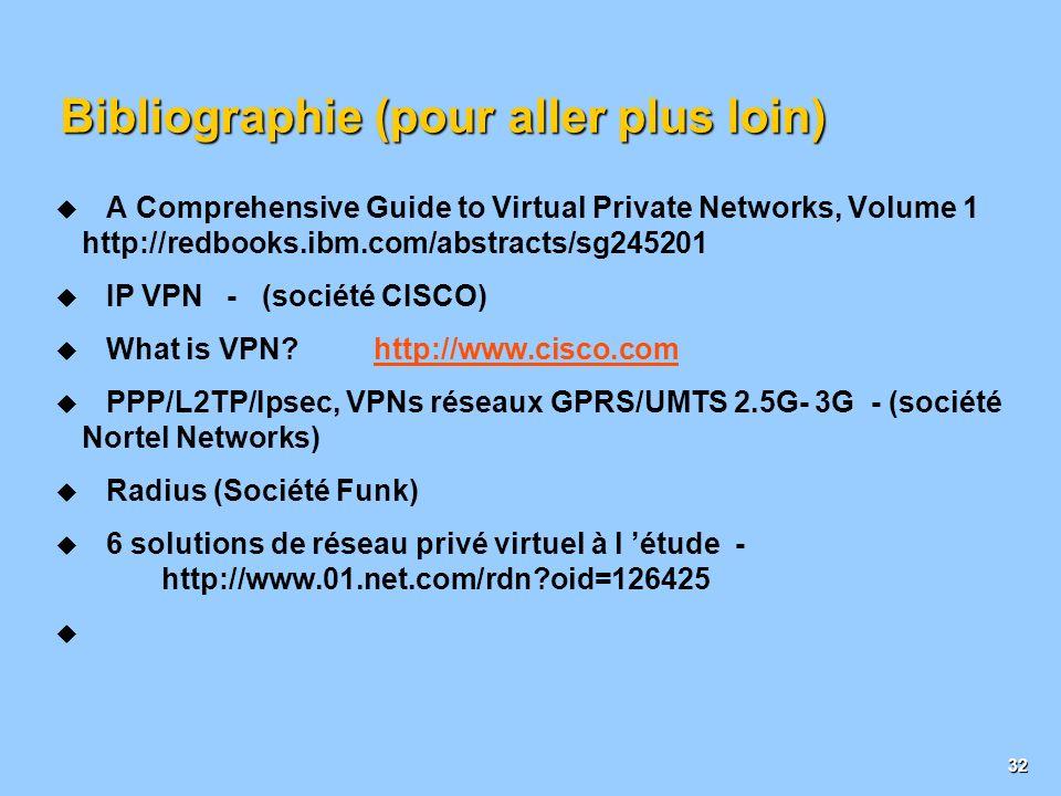 31 Choix d implémentation IPSec Modes et Fonctions Mode Tunnel Sécurise le trafic IP entre deux réseaux Mode Transport Sécurise le trafic IP entre deu