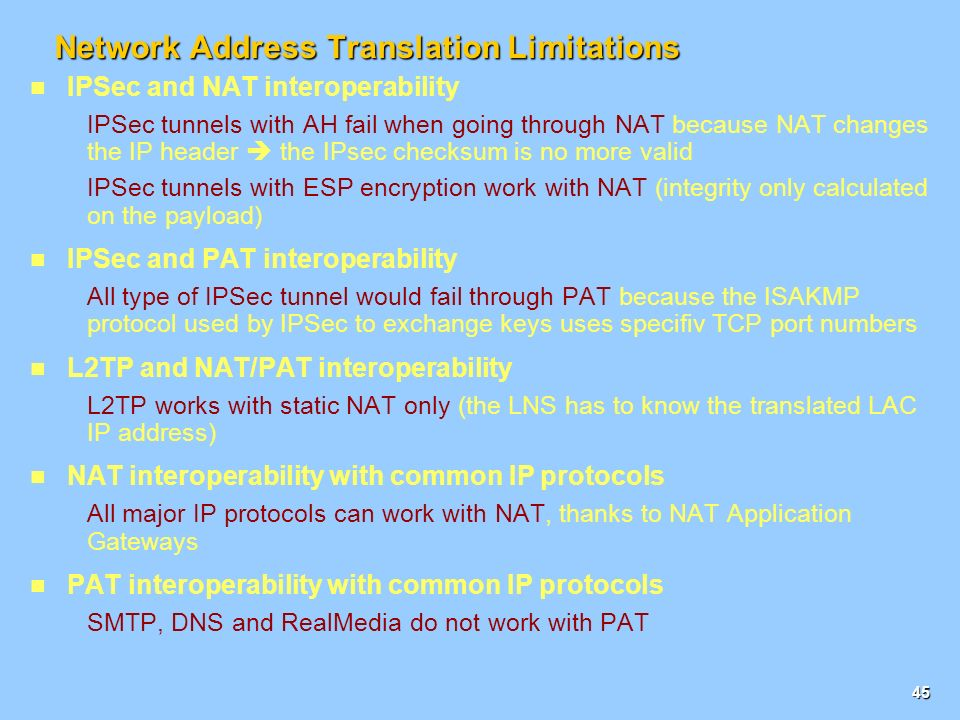44 Network Address Translation (NAT) Concepts NAT is defined in RFC 1631.