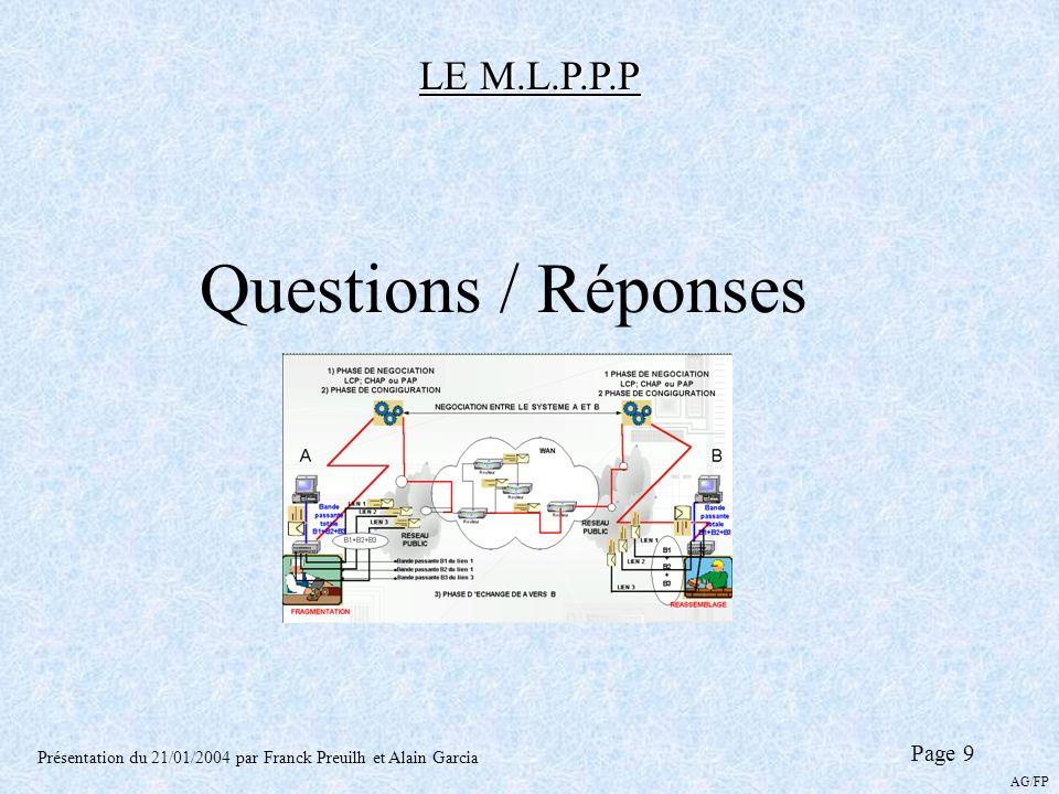 LE M.L.P.P.P Présentation du 21/01/2004 par Franck Preuilh et Alain Garcia Page 9 AG/FP Questions / Réponses