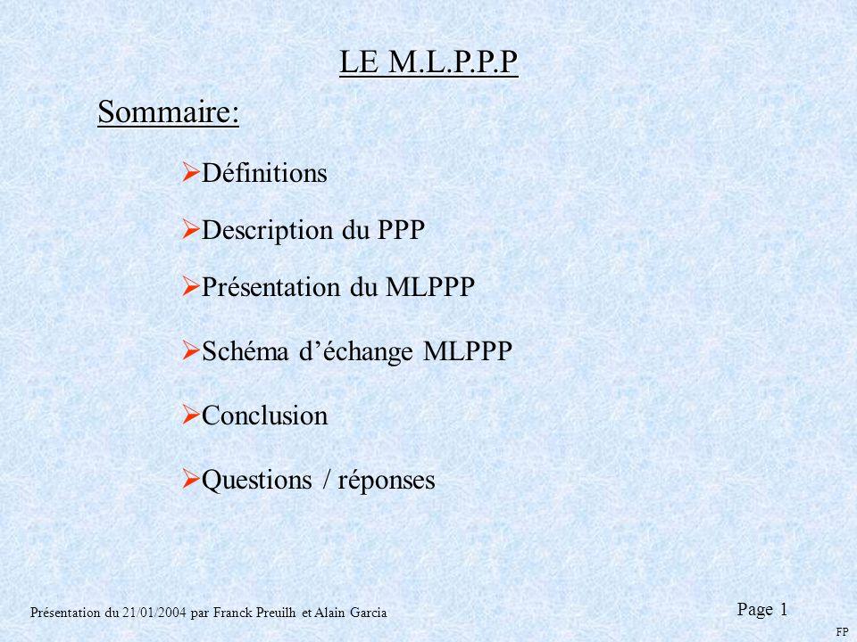 LE M.L.P.P.P Présentation du 21/01/2004 par Franck Preuilh et Alain Garcia Définitions Description du PPP Présentation du MLPPP Schéma déchange MLPPP