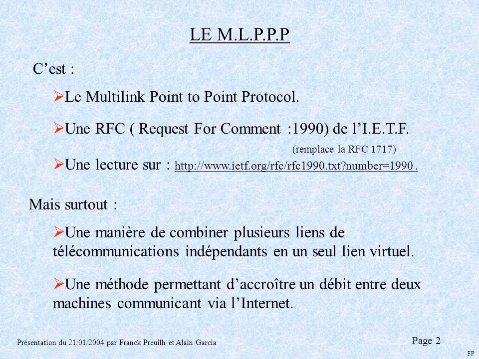 LE M.L.P.P.P Présentation du 21/01/2004 par Franck Preuilh et Alain Garcia Cest : Le Multilink Point to Point Protocol. Une RFC ( Request For Comment