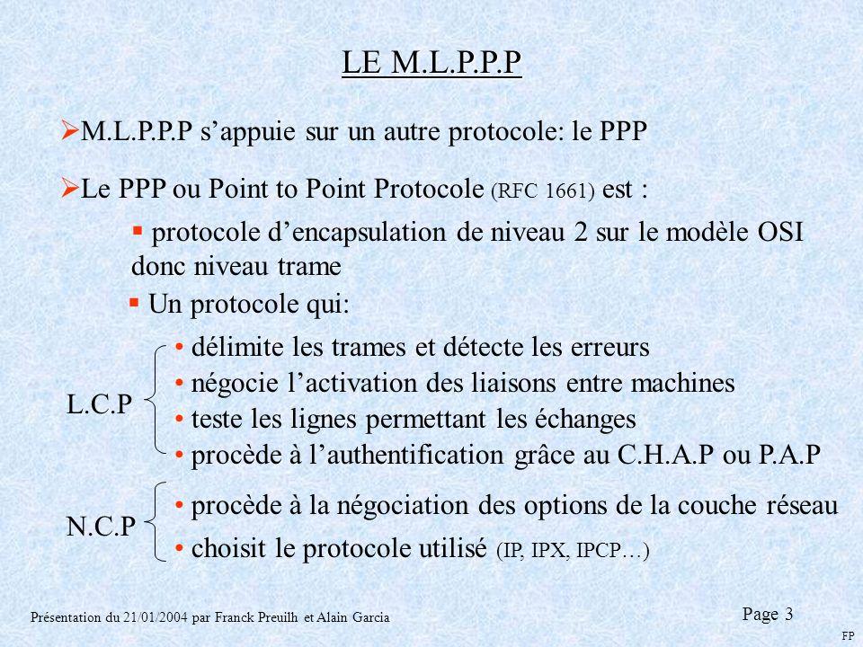 LE M.L.P.P.P Présentation du 21/01/2004 par Franck Preuilh et Alain Garcia M.L.P.P.P sappuie sur un autre protocole: le PPP Le PPP ou Point to Point P