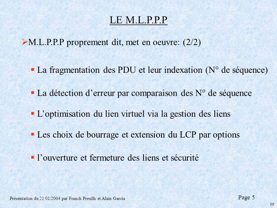 LE M.L.P.P.P Présentation du 21/01/2004 par Franck Preuilh et Alain Garcia Page 5 M.L.P.P.P proprement dit, met en oeuvre: (2/2) La fragmentation des