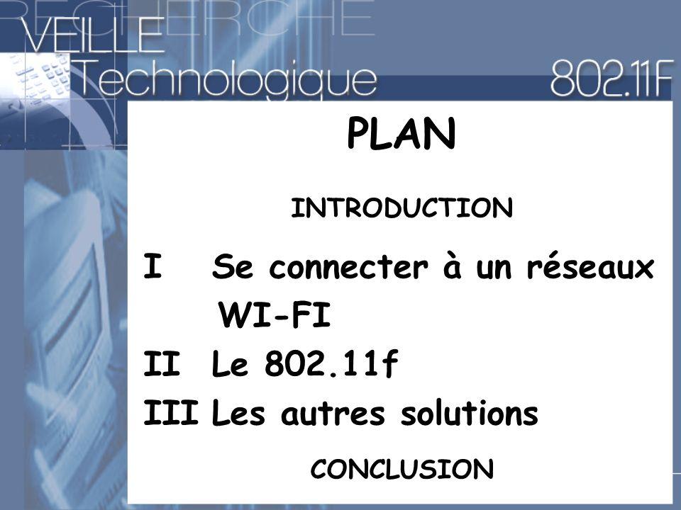 PLAN INTRODUCTION I Se connecter à un réseaux WI-FI II Le 802.11f IIILes autres solutions CONCLUSION