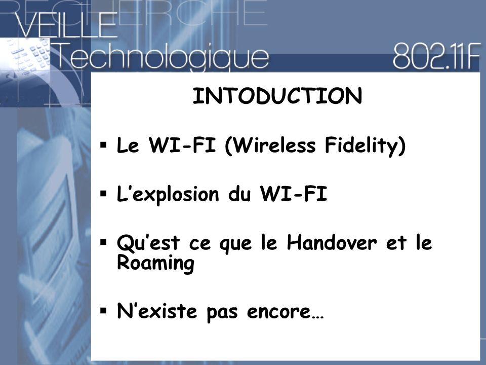 INTODUCTION Le WI-FI (Wireless Fidelity) Lexplosion du WI-FI Quest ce que le Handover et le Roaming Nexiste pas encore…