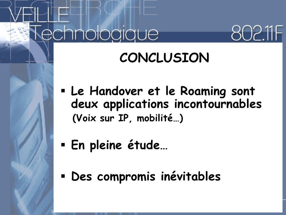 CONCLUSION Le Handover et le Roaming sont deux applications incontournables (Voix sur IP, mobilité…) En pleine étude… Des compromis inévitables
