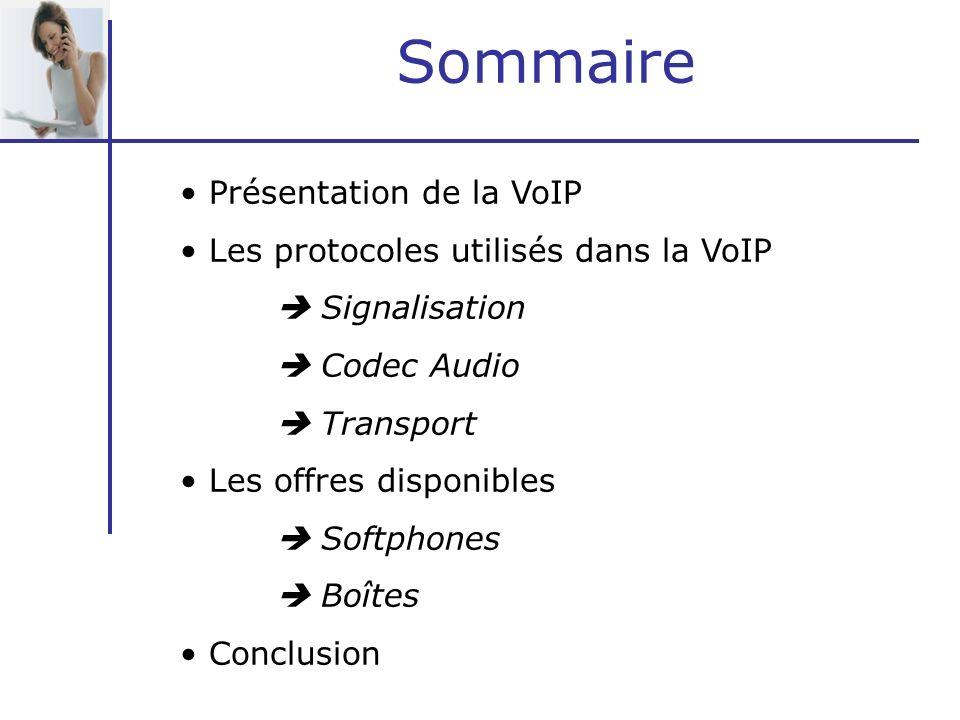 Sommaire Présentation de la VoIP Les protocoles utilisés dans la VoIP Signalisation Codec Audio Transport Les offres disponibles Softphones Boîtes Con