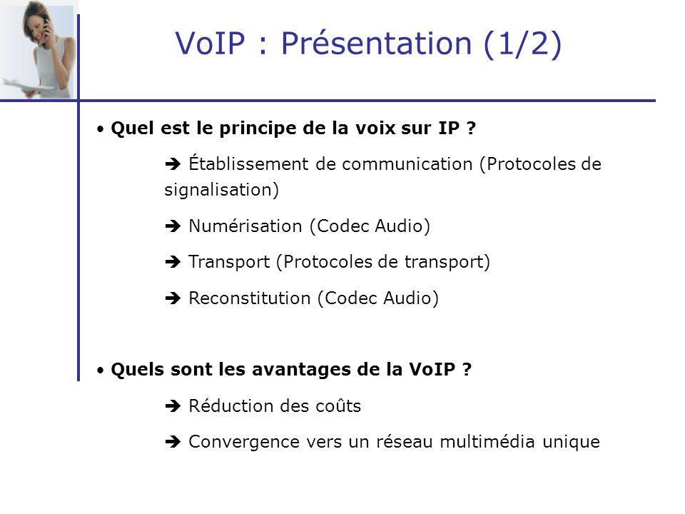 VoIP : Présentation (1/2) Quel est le principe de la voix sur IP ? Établissement de communication (Protocoles de signalisation) Numérisation (Codec Au