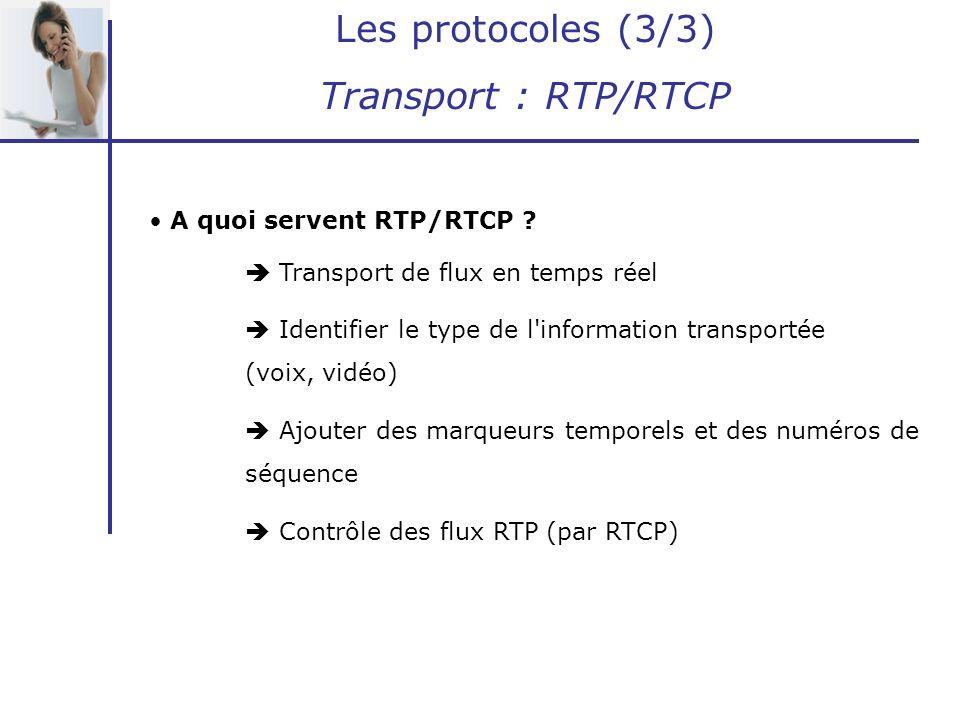 Les protocoles (3/3) Transport : RTP/RTCP A quoi servent RTP/RTCP ? Transport de flux en temps réel Identifier le type de l'information transportée (v