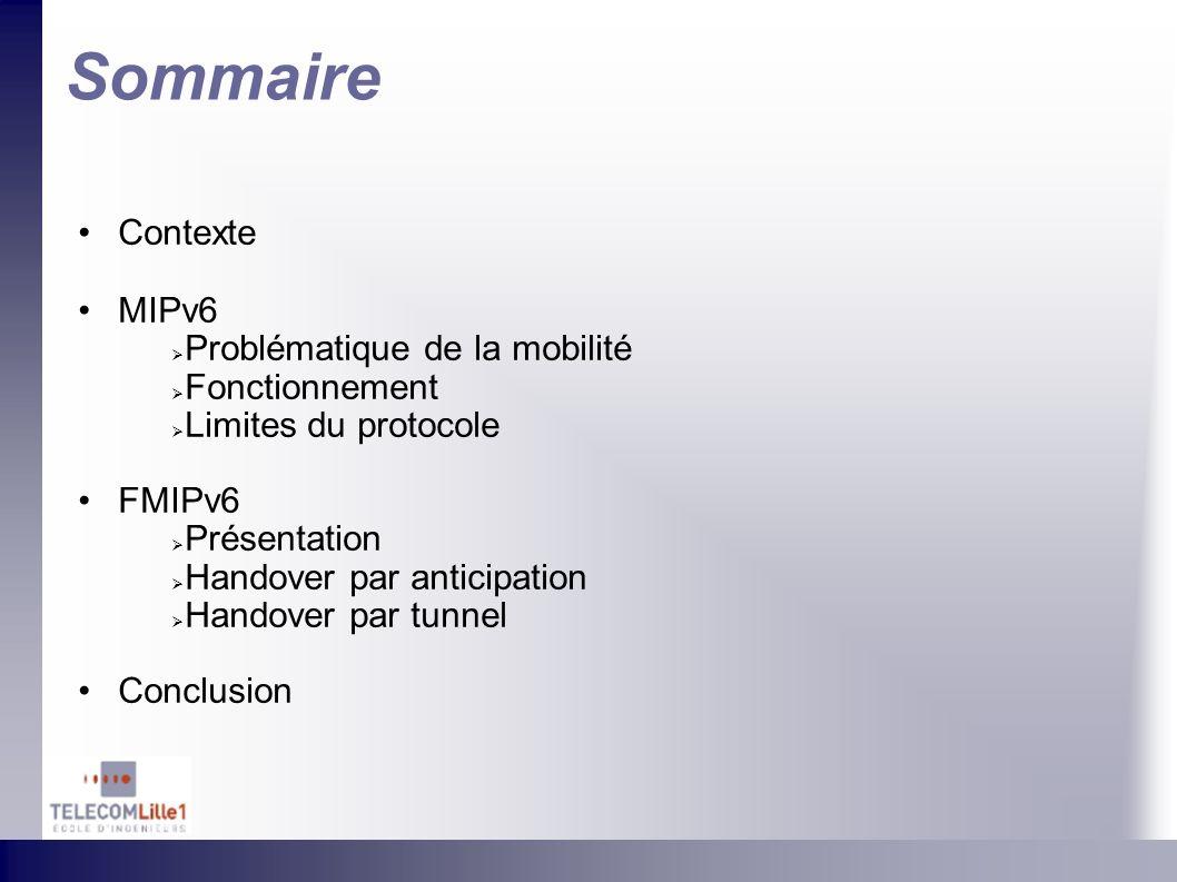 Sommaire Contexte MIPv6 Problématique de la mobilité Fonctionnement Limites du protocole FMIPv6 Présentation Handover par anticipation Handover par tu