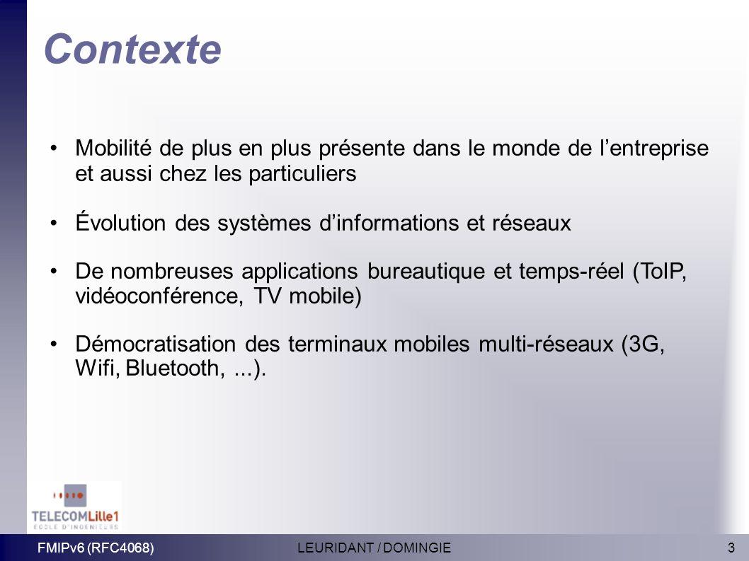 3LEURIDANT / DOMINGIEFMIPv6 (RFC4068) Contexte Mobilité de plus en plus présente dans le monde de lentreprise et aussi chez les particuliers Évolution