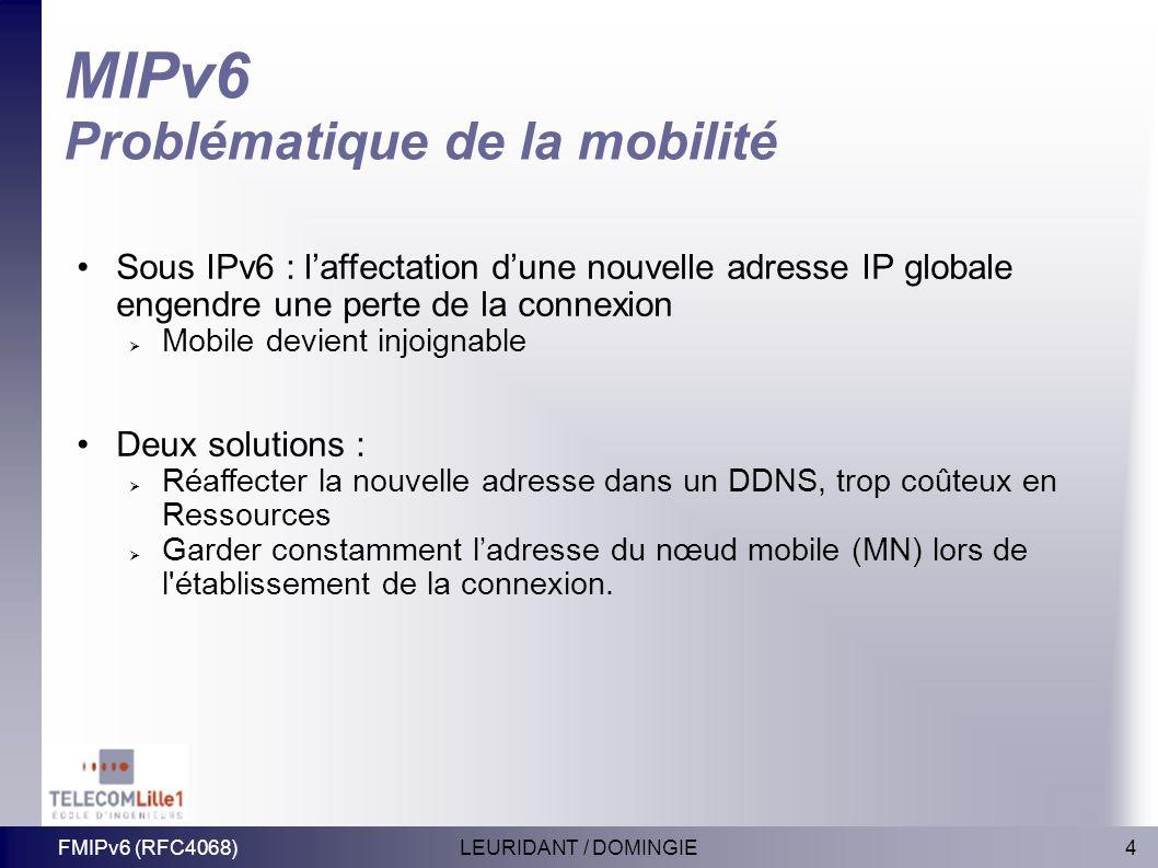 4LEURIDANT / DOMINGIEFMIPv6 (RFC4068) MIPv6 Problématique de la mobilité Sous IPv6 : laffectation dune nouvelle adresse IP globale engendre une perte