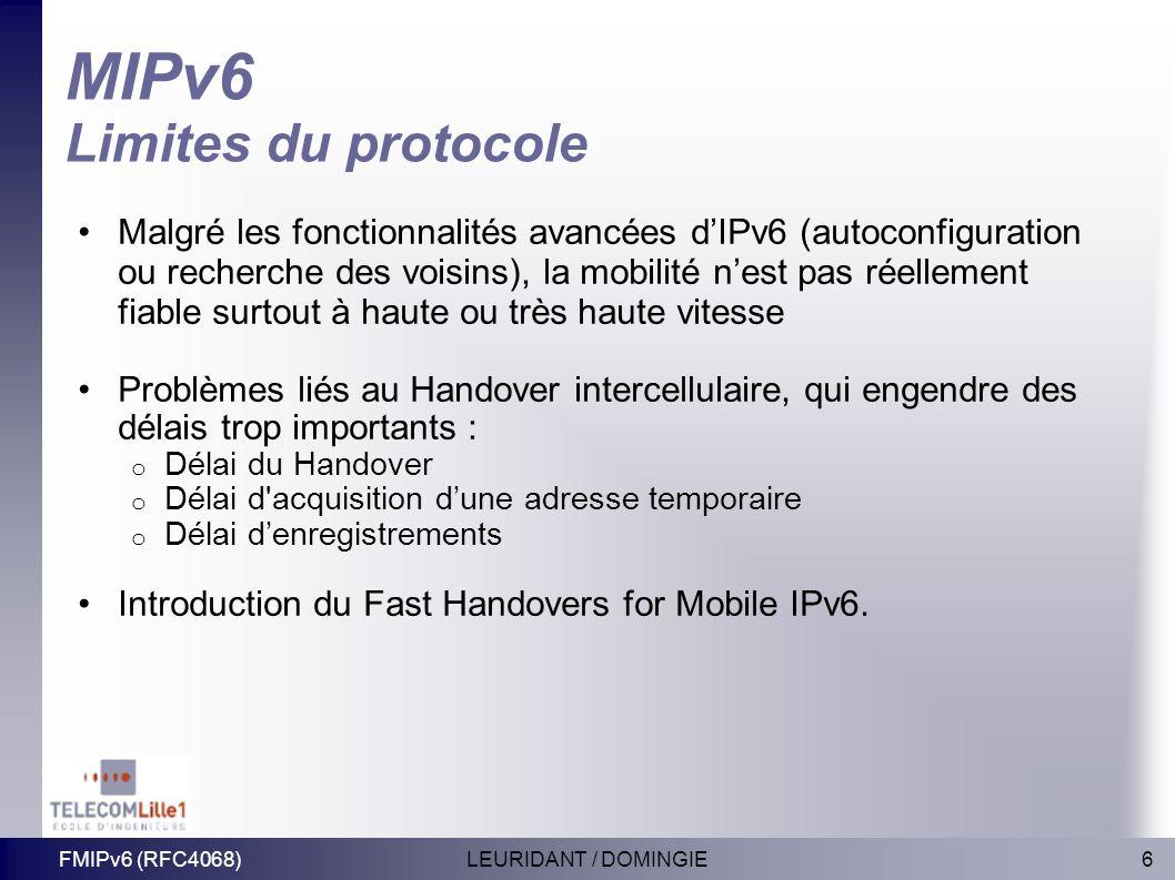 6LEURIDANT / DOMINGIEFMIPv6 (RFC4068) MIPv6 Limites du protocole Malgré les fonctionnalités avancées dIPv6 (autoconfiguration ou recherche des voisins