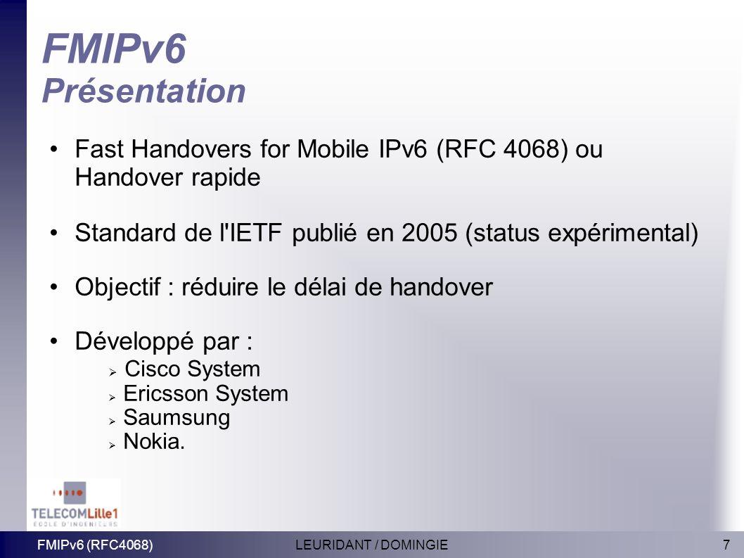 7LEURIDANT / DOMINGIEFMIPv6 (RFC4068) FMIPv6 Présentation Fast Handovers for Mobile IPv6 (RFC 4068) ou Handover rapide Standard de l'IETF publié en 20