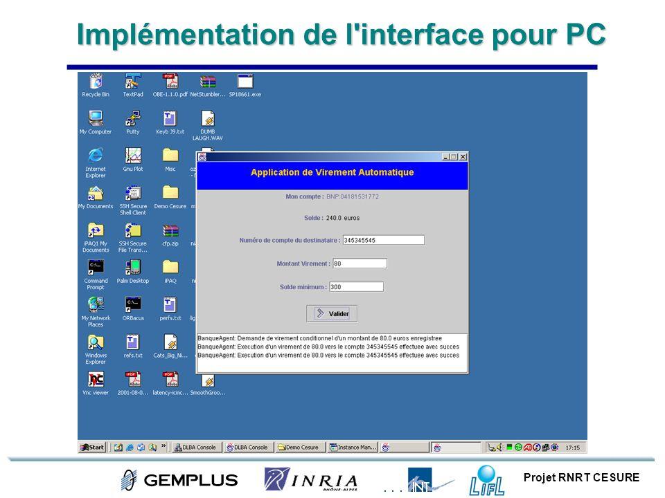 Projet RNRT CESURE Implémentation de l'interface pour PC