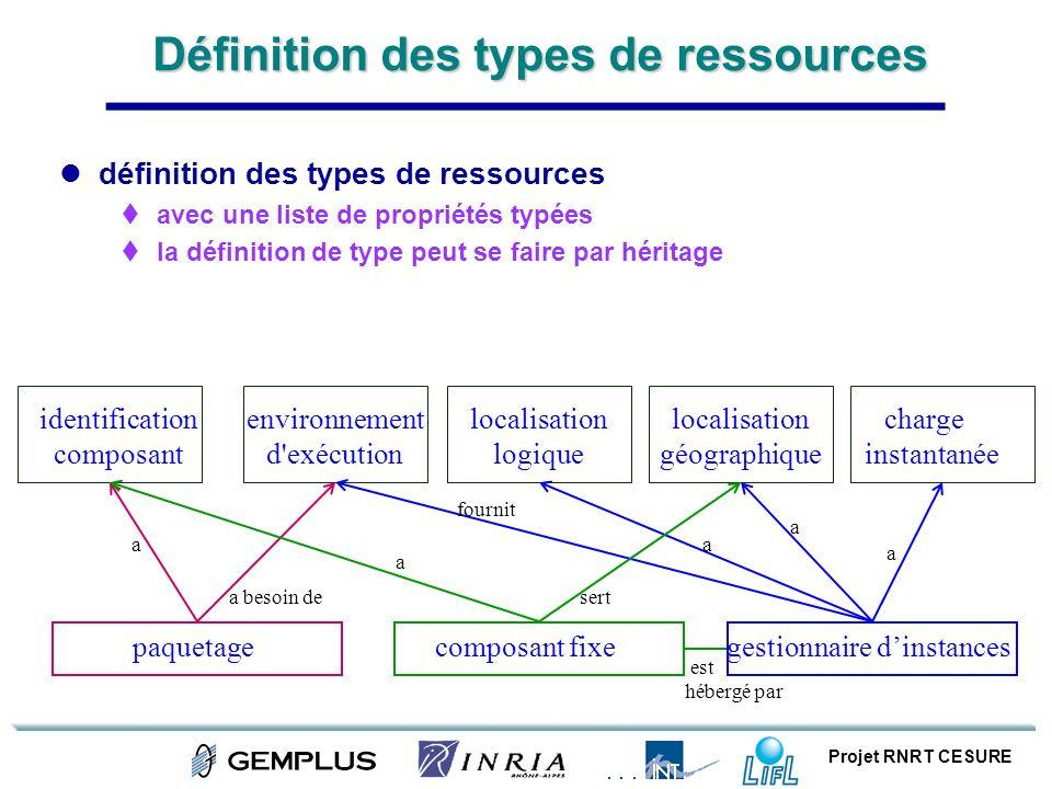 Projet RNRT CESURE Définition des types de ressources définition des types de ressources avec une liste de propriétés typées la définition de type peu