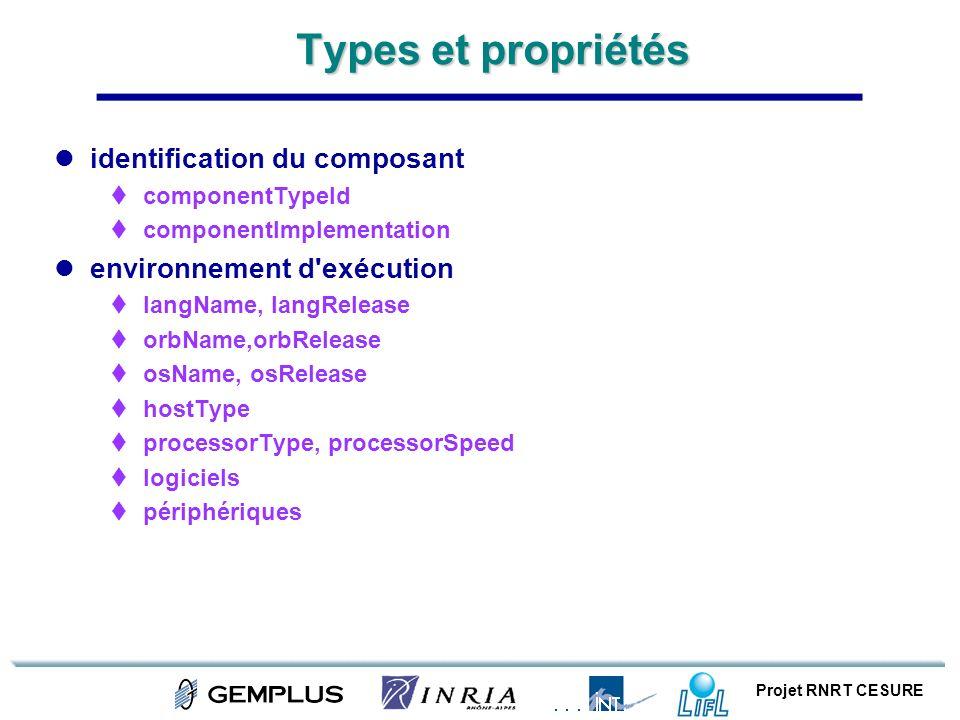 Projet RNRT CESURE Types et propriétés identification du composant componentTypeId componentImplementation environnement d'exécution langName, langRel