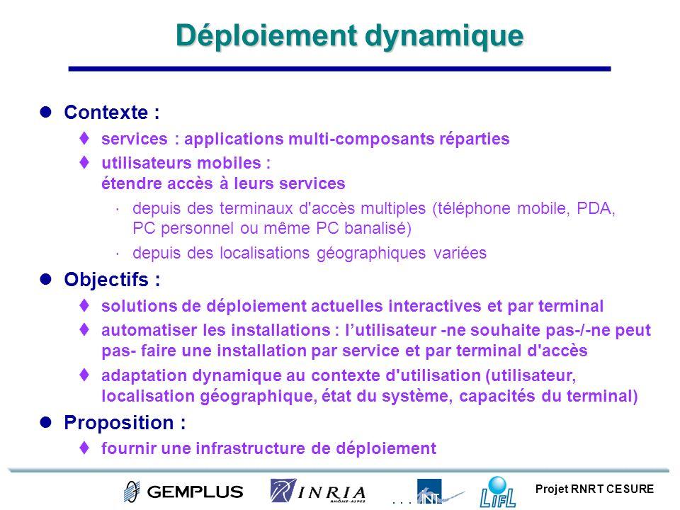 Projet RNRT CESURE Déploiement dynamique Contexte : services : applications multi-composants réparties utilisateurs mobiles : étendre accès à leurs se