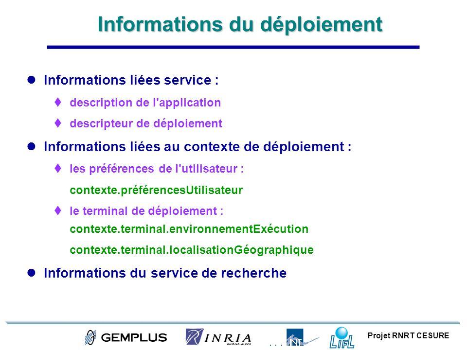 Projet RNRT CESURE Informations du déploiement Informations liées service : description de l'application descripteur de déploiement Informations liées
