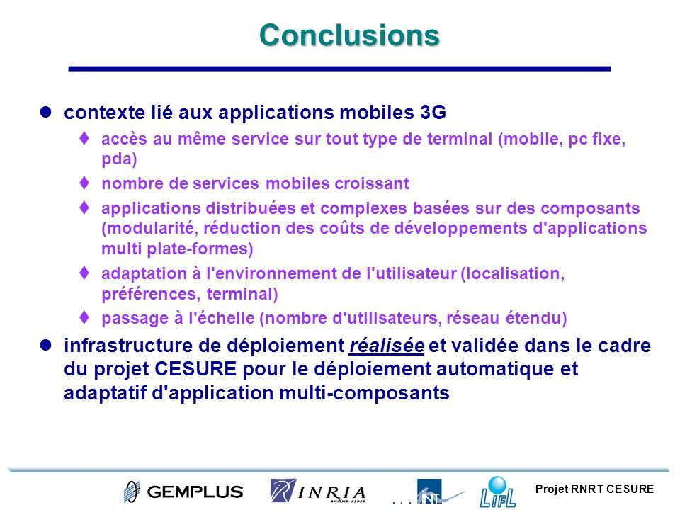 Projet RNRT CESUREConclusions contexte lié aux applications mobiles 3G accès au même service sur tout type de terminal (mobile, pc fixe, pda) nombre d