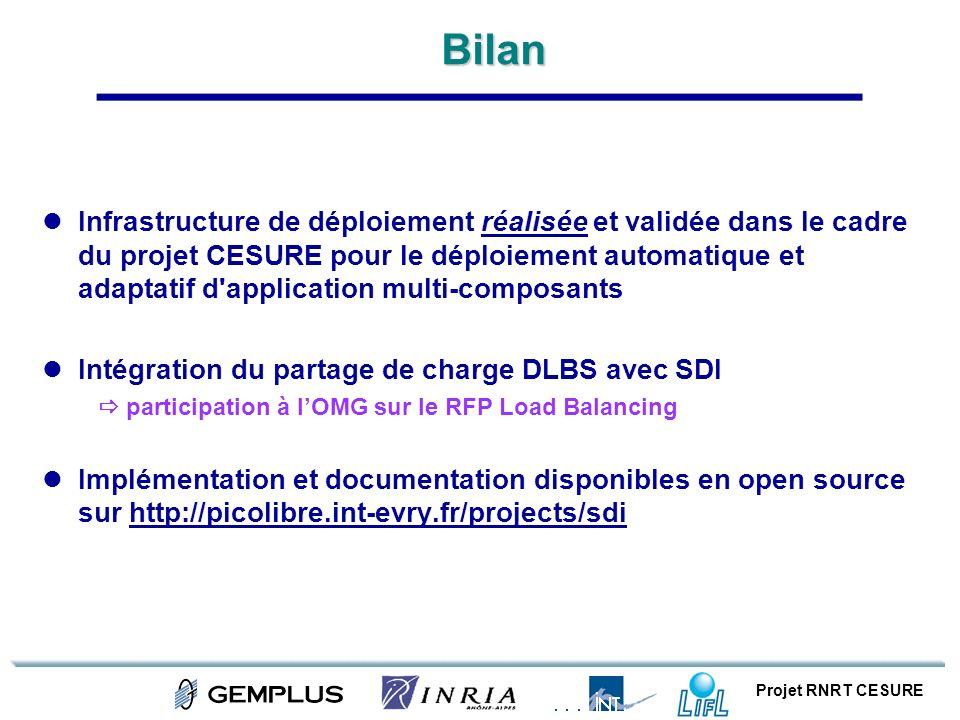 Projet RNRT CESUREBilan Infrastructure de déploiement réalisée et validée dans le cadre du projet CESURE pour le déploiement automatique et adaptatif