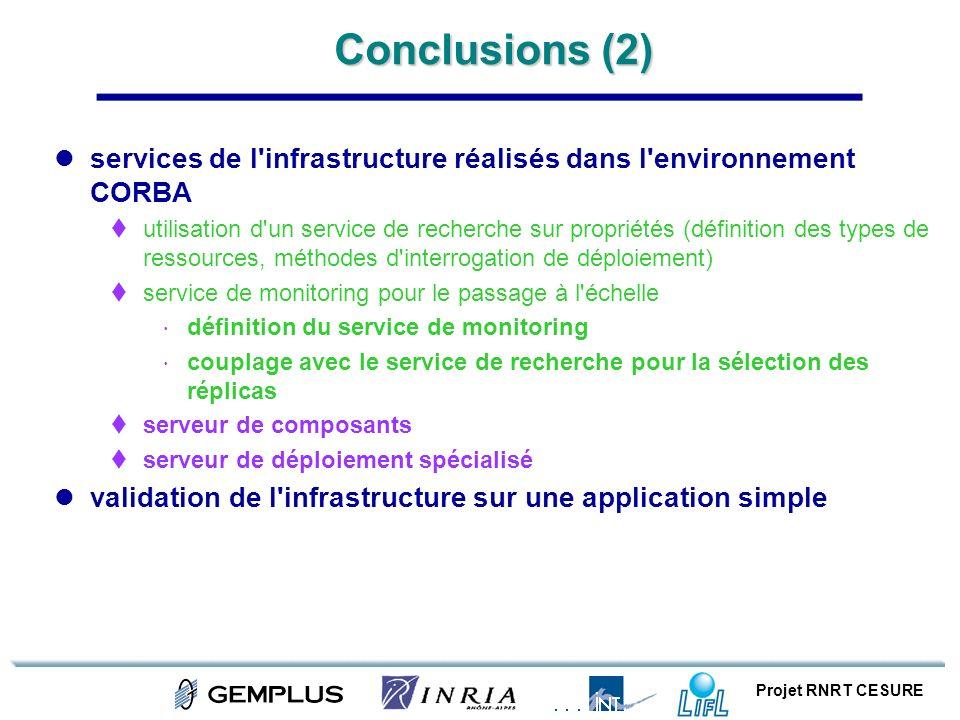 Projet RNRT CESURE Conclusions (2) services de l'infrastructure réalisés dans l'environnement CORBA utilisation d'un service de recherche sur propriét