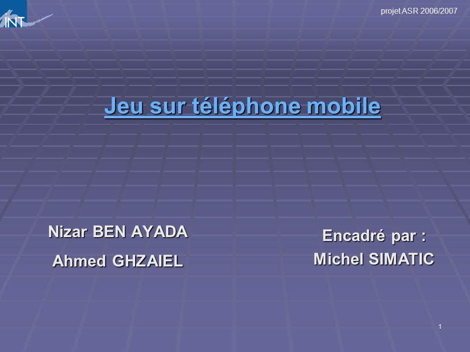 projet ASR 2006/2007 1 Jeu sur téléphone mobile Jeu sur téléphone mobile Nizar BEN AYADA Ahmed GHZAIEL Encadré par : Michel SIMATIC