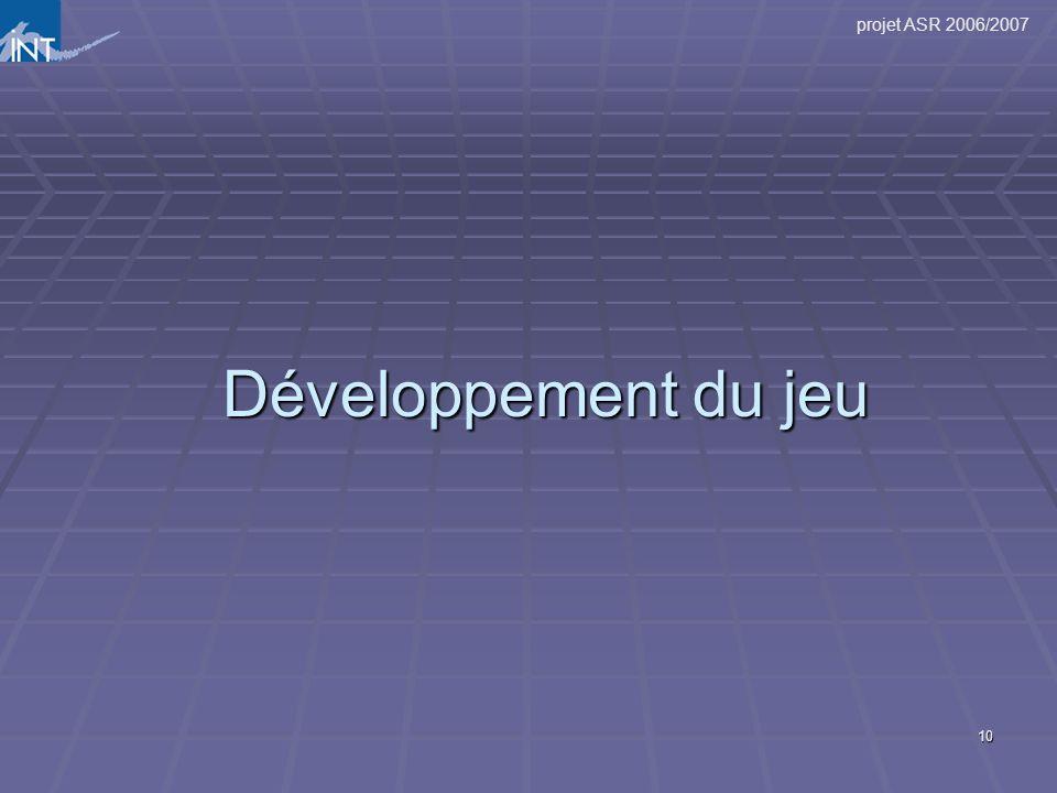 projet ASR 2006/2007 10 Développement du jeu