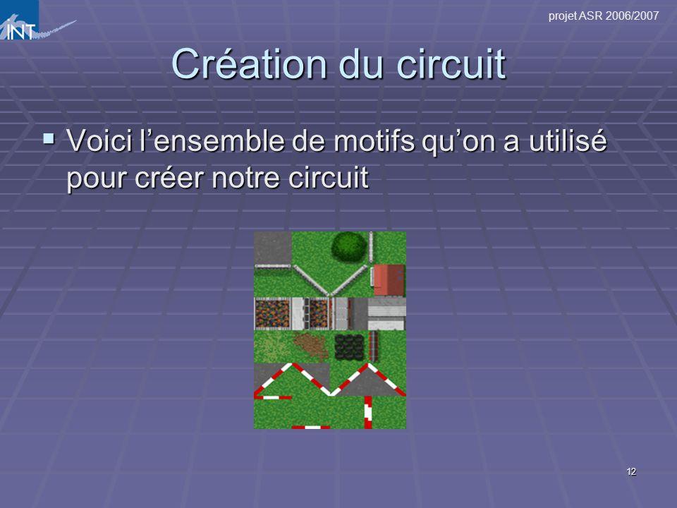 12 Création du circuit Voici lensemble de motifs quon a utilisé pour créer notre circuit Voici lensemble de motifs quon a utilisé pour créer notre cir