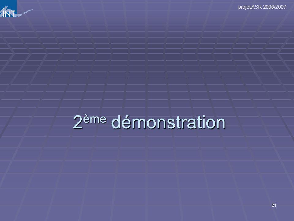 projet ASR 2006/2007 21 2 ème démonstration