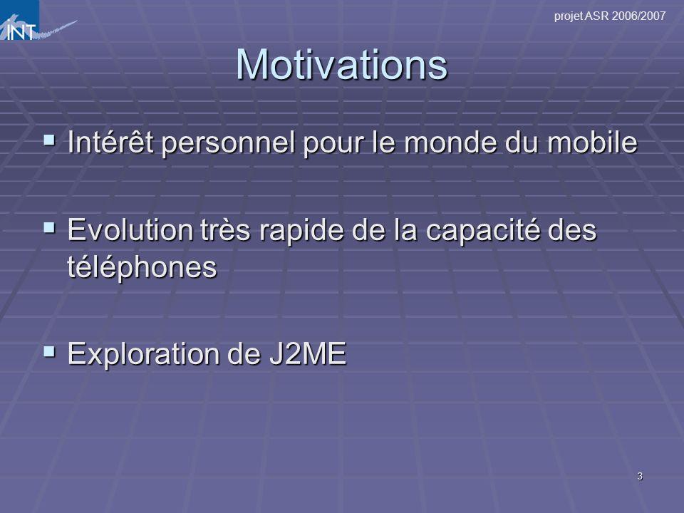 projet ASR 2006/2007 3 Motivations Intérêt personnel pour le monde du mobile Intérêt personnel pour le monde du mobile Evolution très rapide de la cap