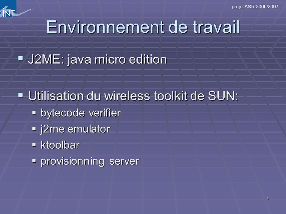 projet ASR 2006/2007 4 Environnement de travail J2ME: java micro edition J2ME: java micro edition Utilisation du wireless toolkit de SUN: Utilisation