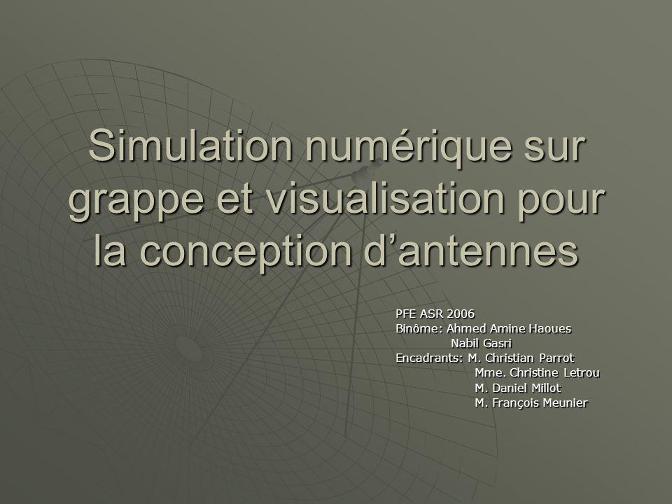 Simulation numérique sur grappe et visualisation pour la conception dantennes PFE ASR 2006 Binôme: Ahmed Amine Haoues Nabil Gasri Nabil Gasri Encadran