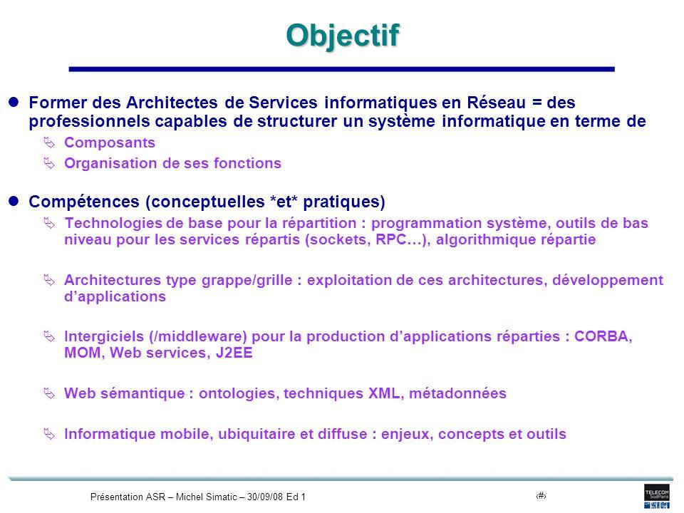 Présentation ASR – Michel Simatic – 30/09/08 Ed 110Objectif Former des Architectes de Services informatiques en Réseau = des professionnels capables d