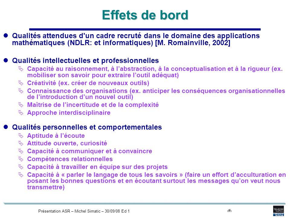 Présentation ASR – Michel Simatic – 30/09/08 Ed 111 Effets de bord Qualités attendues d un cadre recruté dans le domaine des applications mathématiques (NDLR: et informatiques) [M.