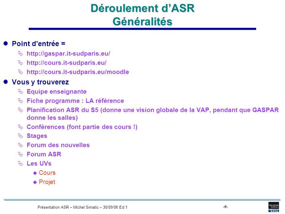 Présentation ASR – Michel Simatic – 30/09/08 Ed 113 Déroulement dASR Généralités Point d entrée = http://gaspar.it-sudparis.eu/ http://cours.it-sudparis.eu/ http://cours.it-sudparis.eu/moodle Vous y trouverez Equipe enseignante Fiche programme : LA référence Planification ASR du S5 (donne une vision globale de la VAP, pendant que GASPAR donne les salles) Conférences (font partie des cours !) Stages Forum des nouvelles Forum ASR Les UVs Cours Projet