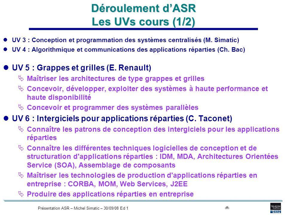 Présentation ASR – Michel Simatic – 30/09/08 Ed 114 Déroulement dASR Les UVs cours (1/2) UV 3 : Conception et programmation des systèmes centralisés (