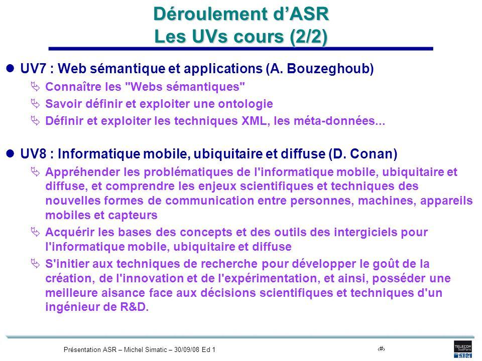 Présentation ASR – Michel Simatic – 30/09/08 Ed 115 Déroulement dASR Les UVs cours (2/2) UV7 : Web sémantique et applications (A. Bouzeghoub) Connaîtr