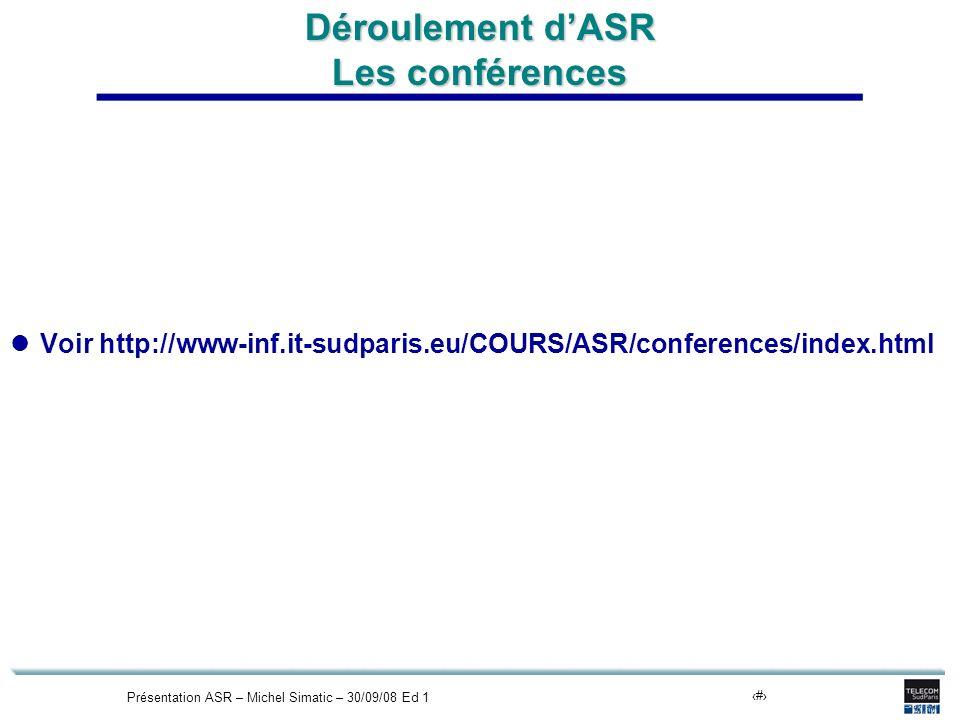 Présentation ASR – Michel Simatic – 30/09/08 Ed 116 Déroulement dASR Les conférences Voir http://www-inf.it-sudparis.eu/COURS/ASR/conferences/index.html
