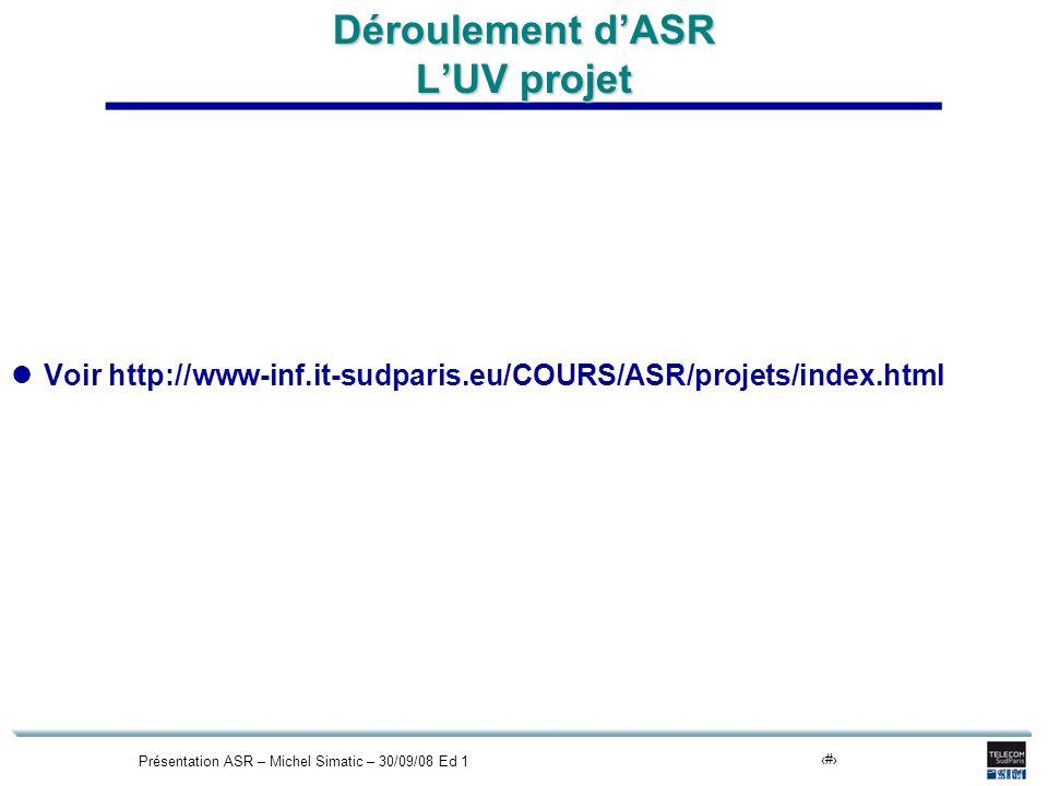 Présentation ASR – Michel Simatic – 30/09/08 Ed 117 Déroulement dASR LUV projet Voir http://www-inf.it-sudparis.eu/COURS/ASR/projets/index.html
